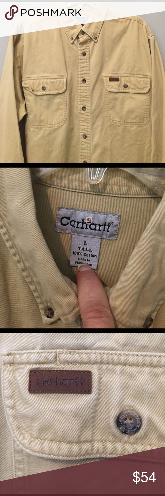 Carhartt Heavy Work Shirt 100% Cotton - Large Tall Like new condition, front button, heavy cotton work shirt,size Large Tall Carhartt Shirts Casual Button Down Shirts