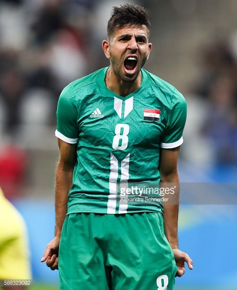 #RIO2016 Mahanad Abdulraheem of Iraq reacts during the match between South Africa and Iraq mens football for the Olympic Games Rio 2016 at Arena Corinthians...