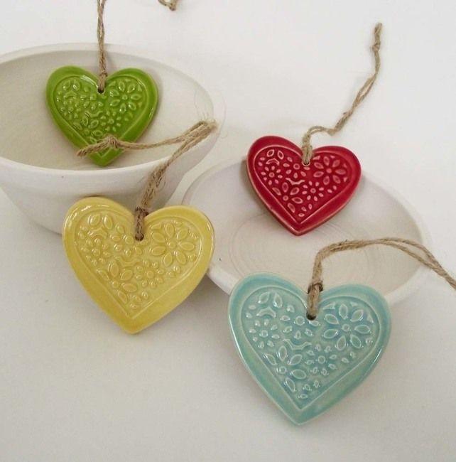 Ceramic Heart decorations set of four