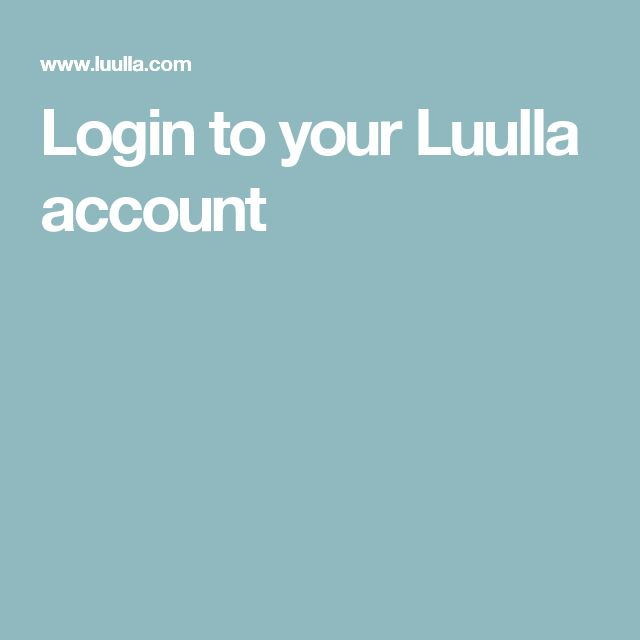 Login to your Luulla account
