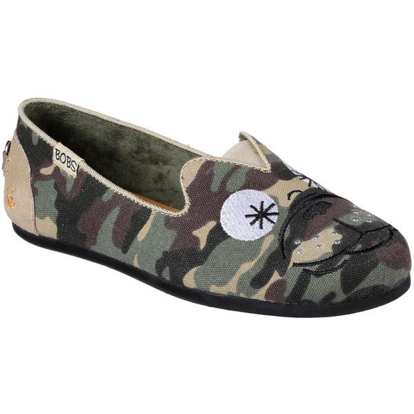 Skechers Women's Bobs Plush - Prowl Camouflage - Skechers ($45) ❤ liked on Polyvore featuring shoes, camouflage, slip-on shoes, camo slip on shoes, skechers footwear, print shoes and flat shoes
