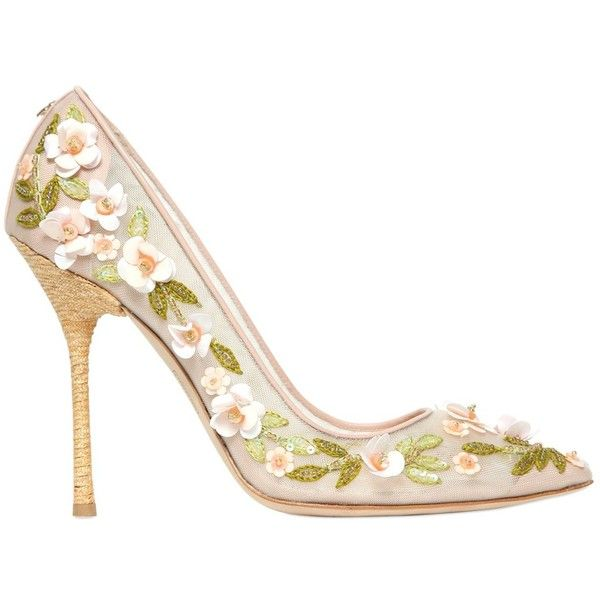 DSQUARED 120mm Net Embroidered Floral Pumps - Nude ($895) ❤ liked on Polyvore featuring shoes, pumps, heels, scarpe, nude, heels & pumps, flower print pumps, nude shoes, nude high heel pumps and nude heel shoes