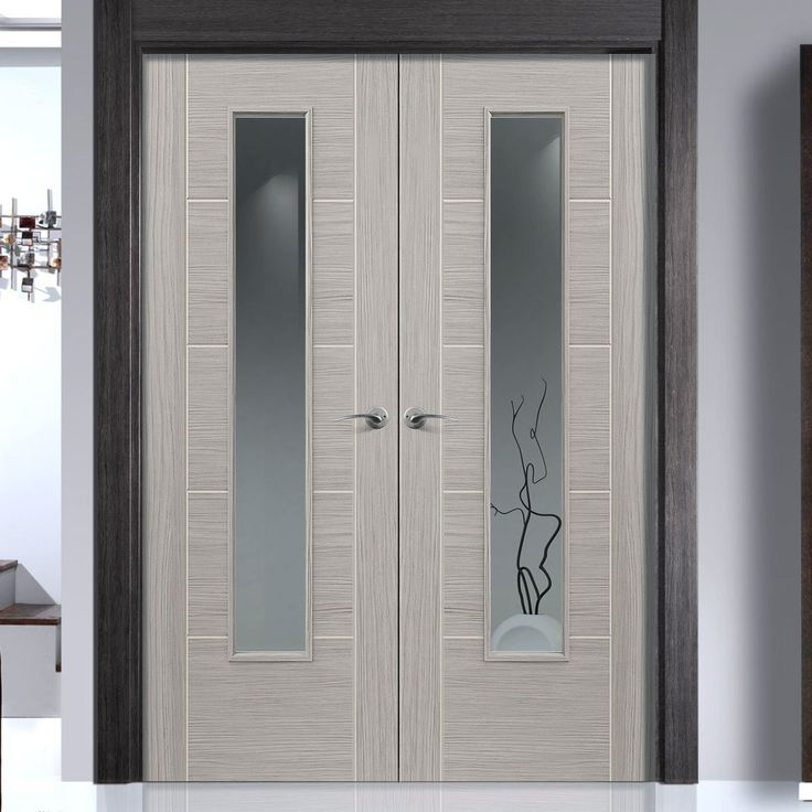 Laminates Lava Painted Door Pair With Clear Safety Glass is Prefinished - Lifestyle Image.    #glazeddoors