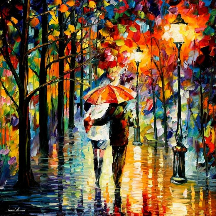 I love the colors that Leonid Afremov uses...Artists, Rainy Day, Leonidafremov, Colors, Art Prints, Red Umbrellas, Leonid Afremov, Art Painting, Oil Painting