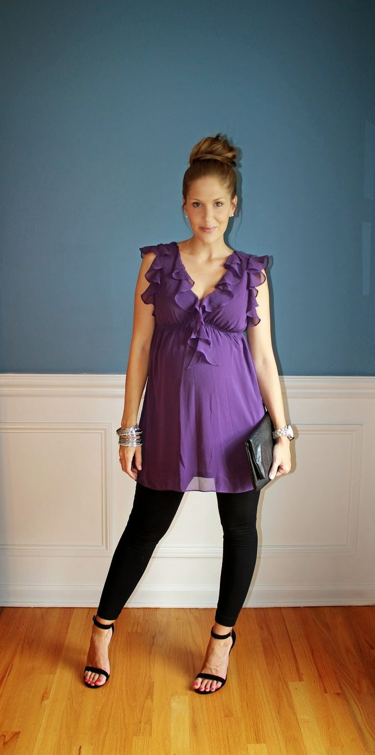 Outfitted411: July 2014 maternity fashion purple top leggings