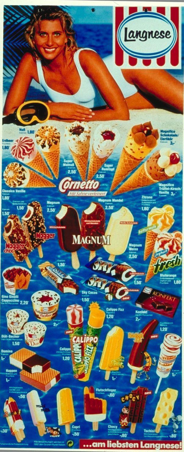 Langnese Eiskarte 90er - Die hing bei uns im Freibad. Einmal durchprobieren war Pflicht!