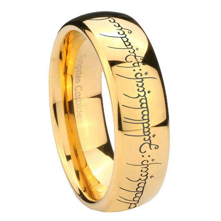 10mm lord of the ring dome gold tungsten carbide wedding