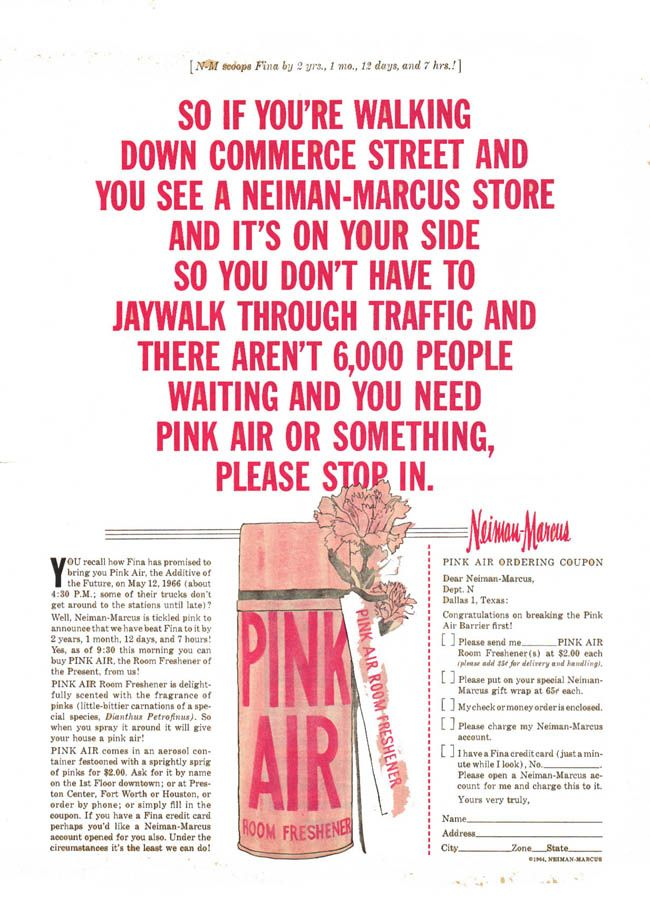 Howard Gossage - Neiman-Marcus - San Francisco Daily Commercial News, 1961 - Fina vintage ad