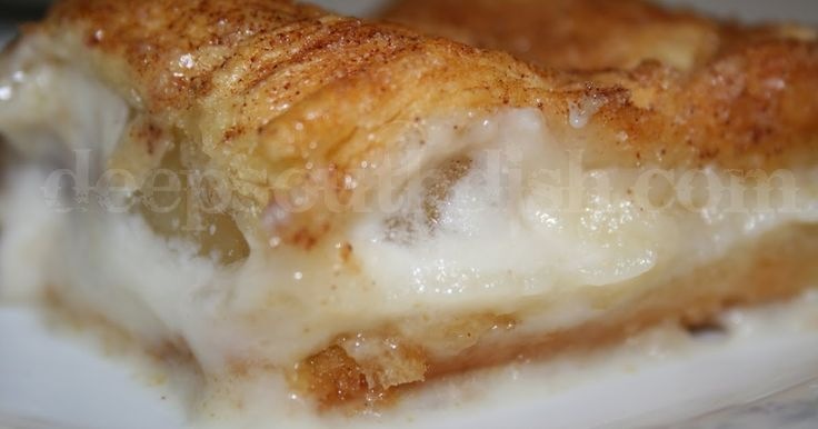 Apple and Cream Cheese Crescent Squares from Deep South Dish blog. Pie filling is sandwiched between layers of crescent dough and a bottom layer of sweetened cream cheese, topped with cinnamon sugar.