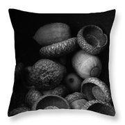 Acorns Black And White Throw Pillow by Edward M. Fielding - www.edwardfielding.com
