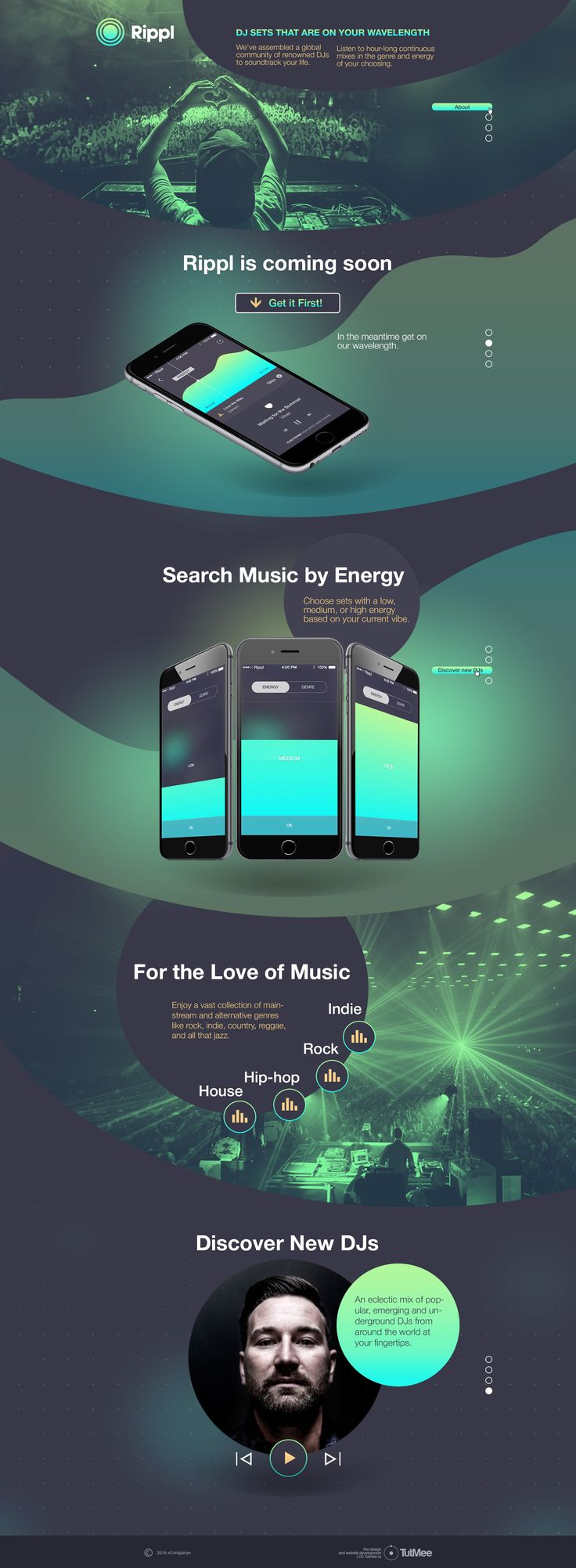 Promo Landing page for coming soon music Mobile App Rippl. Ordered by famous DJ…