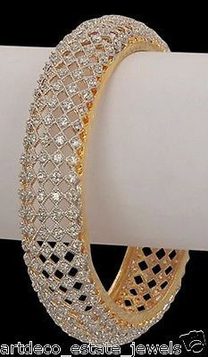 GORGEOUS !! 22.45ct ROUND DIAMOND 14k GOLD WEDDING BANGLE