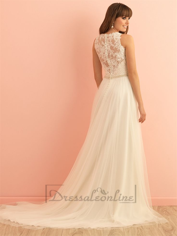 Sleeveless High Neckline Wedding Dress with Illusion Back