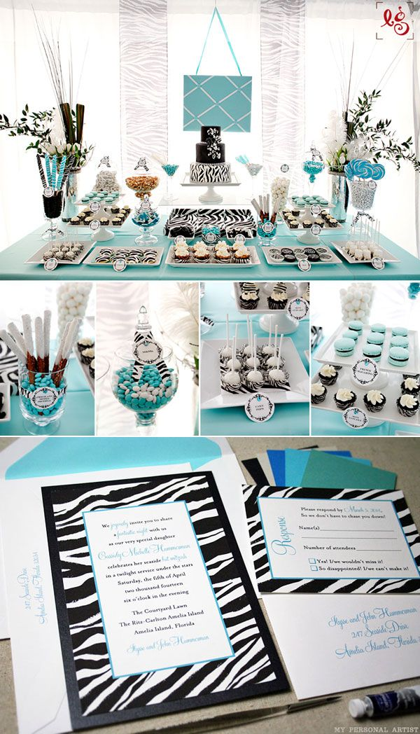 Unique zebra invitations and party ideas at MyPersonalArtist.com