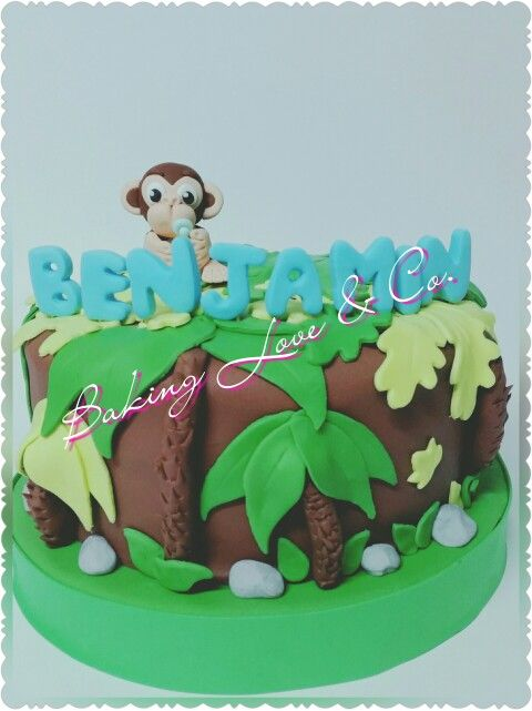 Baby monkey in the jungle. Baby shower