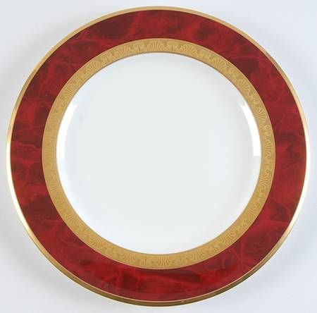 Noritake Hemingway Red & Gold Bordered Dinner Plate at Replacements, Ltd