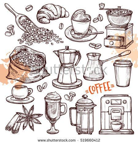 Coffee Hand Drawn Collection. Vector Sketch Illustration Set With Turk, Cups, Coffee Bag With Beans, Croissant, Coffee Mill,Coffee Maker, Kettle, Cups, Latte, Cinnamon, Star Anise