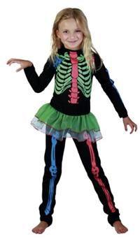 Kız İskelet Kostümü, Neon renkli 7-9 yaş Parti Kostümleri - Kız Çocuk Parti Kostümleri Cadılar Bayramı / Halloween Kostümleri:  Kostümlü Parti, Kıyafet Balosu, Korku Temalı Partiler için ideal kostüm.  Üstü renkli baskılı polyester kostüm eteği tül tütülü tulumdur.