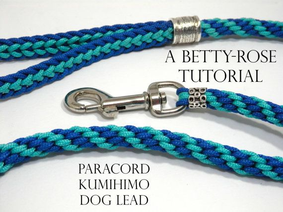 This listing is for a downloadable tutorial to make this fabulous dog lead. The tutorial will show you, step by step, using high resolution photos as well as detailed instructions how it is done.  • Kumihimo Disk • Scissors • Needle and strong beading thread • 10mm x 50mm trigger clip • Large tube bead (inner diameter 10mm) • Smaller tube bead (inner diameter 6mm) • 7.6m Paracord 95 – Turquoise • 7.6m Paracord 95 – Royal Blue • Adhesive (E6000 recommended)  Skill level…