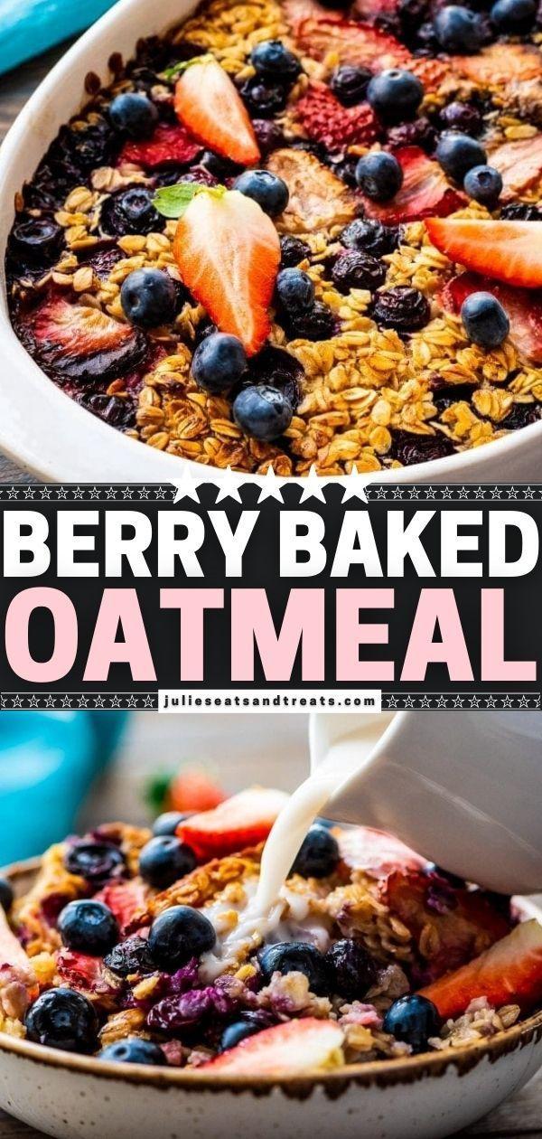 Berry Baked Oatmeal In 2021 Cranberry Recipes Easy Breakfast Brunch Healthy Breakfast Recipes