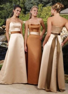 A-line Strapless Floor-length Elastic