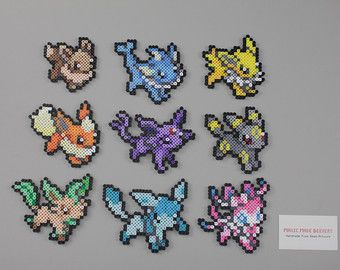 Perler and Artkal Fuse Bead Eeveelutions, Inspired by Pokemon - Set of 9!