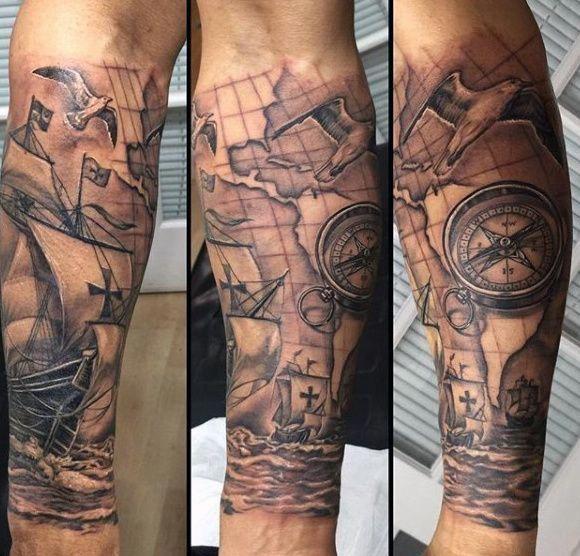Clock And Compass Tattoo For Men Tattoosformen Kompass Tätowierungs Design Kompasstattoo Kompass Tattoo