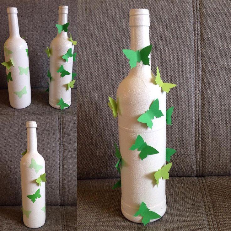 #design #dekoracje #ozdoby #rekodzielo #robotkireczne #handmade #niezchinzpasji #instacraft #nasprzedaz #sprzedam #butelka #bottle #wine #wino #decoupage #motyl #butterfly #zielony
