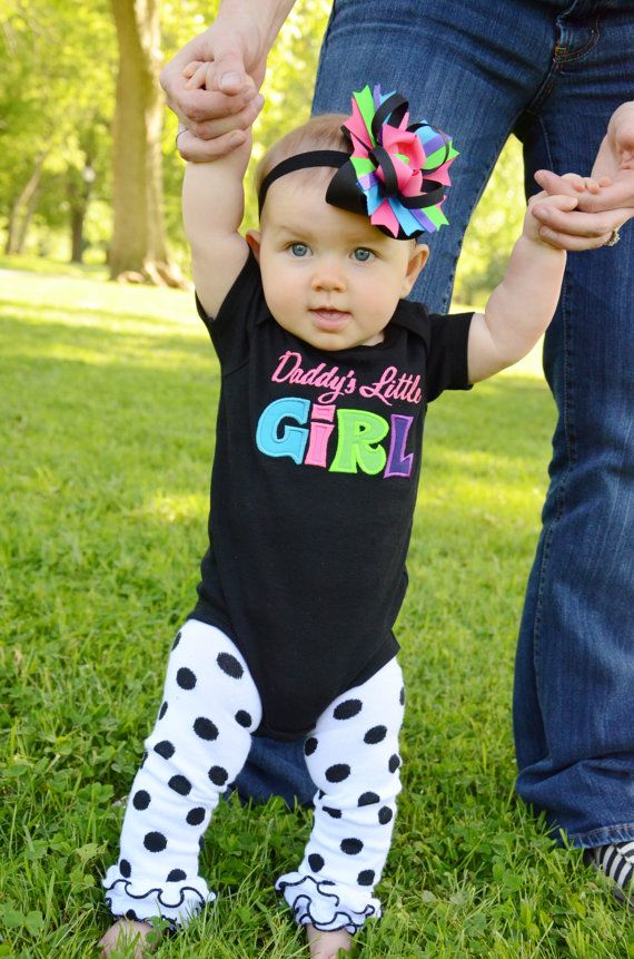 Daddys Little Girl - Black Multi Color Boutique Applique Shirt or Onesie and Hair Bow Set for Girls