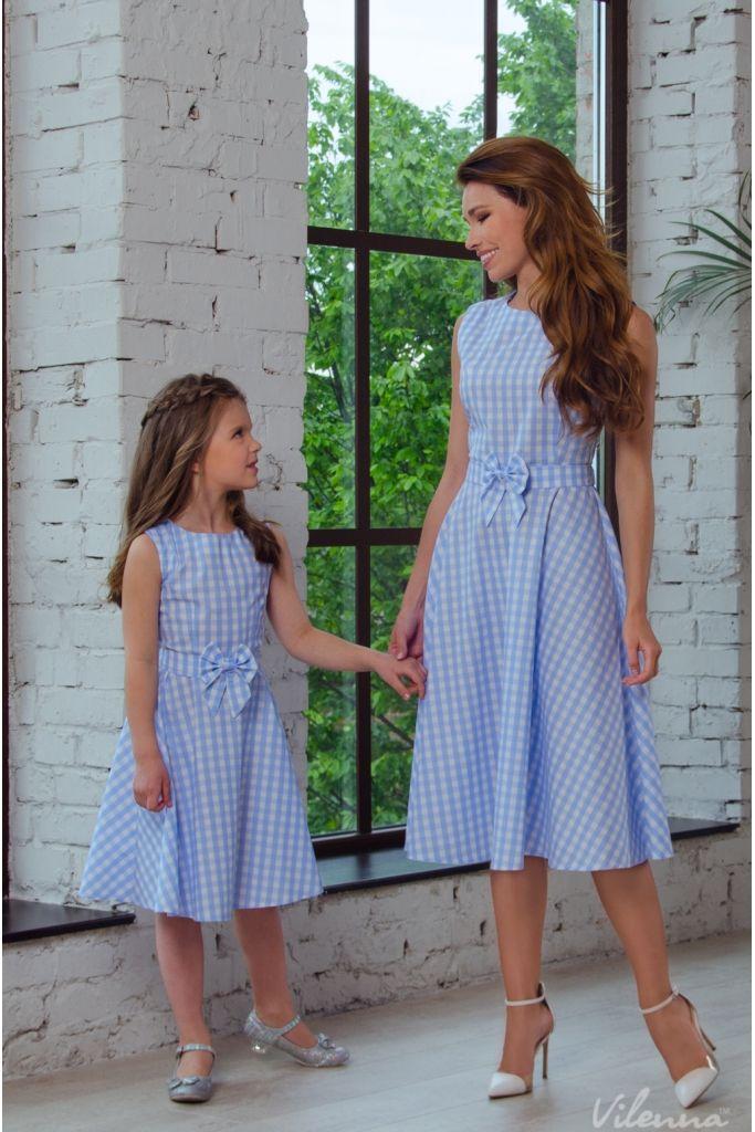 Сукня для мами легка літня з поясом-бантом • колір: блакитний у клітинку • інтернет магазин • vilenna.ua