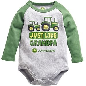 John Deere Infant Boy's Gray Like Grandpa Long Sleeve Onesie | WeGotGreen.com