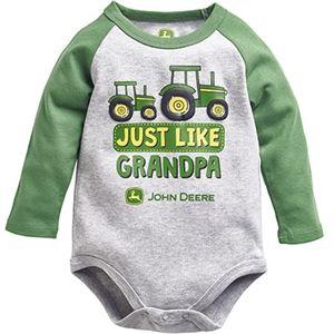 John Deere Infant Boy's Gray Like Grandpa Long Sleeve Onesie | WeGotGreen.com