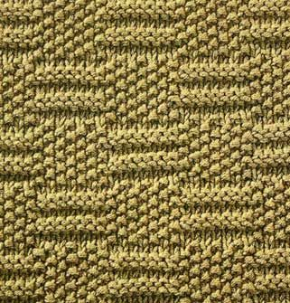 "Square = Square Stitch. Checkered horizontal knitting pattern with seed stitch rectangles taking turns with ""="" shapes. (Hagaina Dwi Septya Rainy FD1A1)"