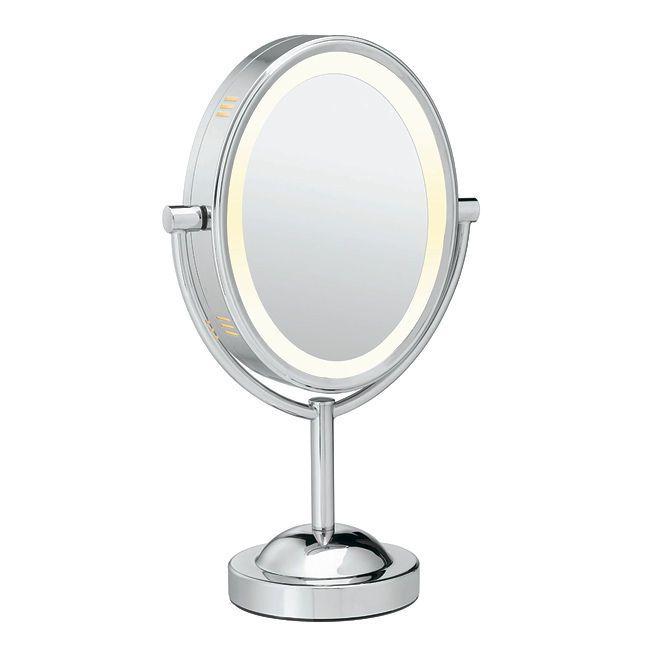 double sided lighted mirror cosmetic makeup mirror magnifying conair. Black Bedroom Furniture Sets. Home Design Ideas