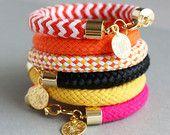 Rope Bracelet - Chunky Rope Bracelet - Gold Charm Bracelet - Braided Bracelet