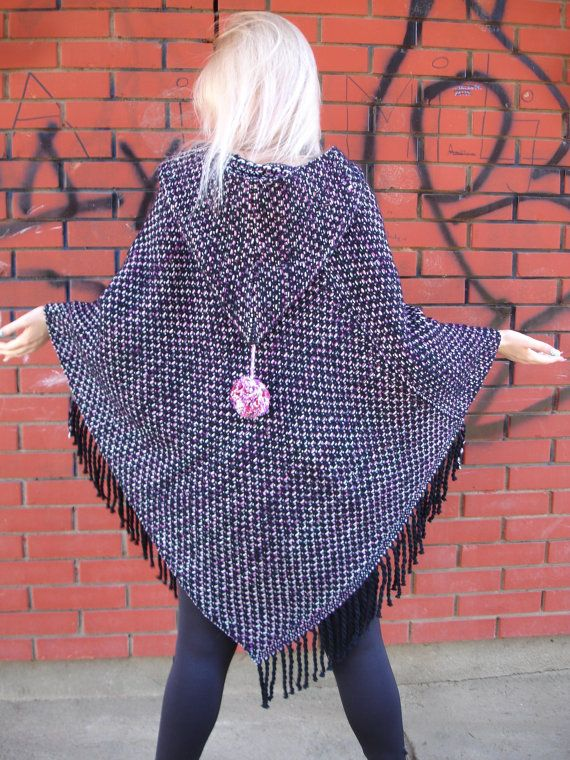 Handwoven Poncho with a hood. Boho. Wool. Unique Gift For Her.Black. Pink. White.