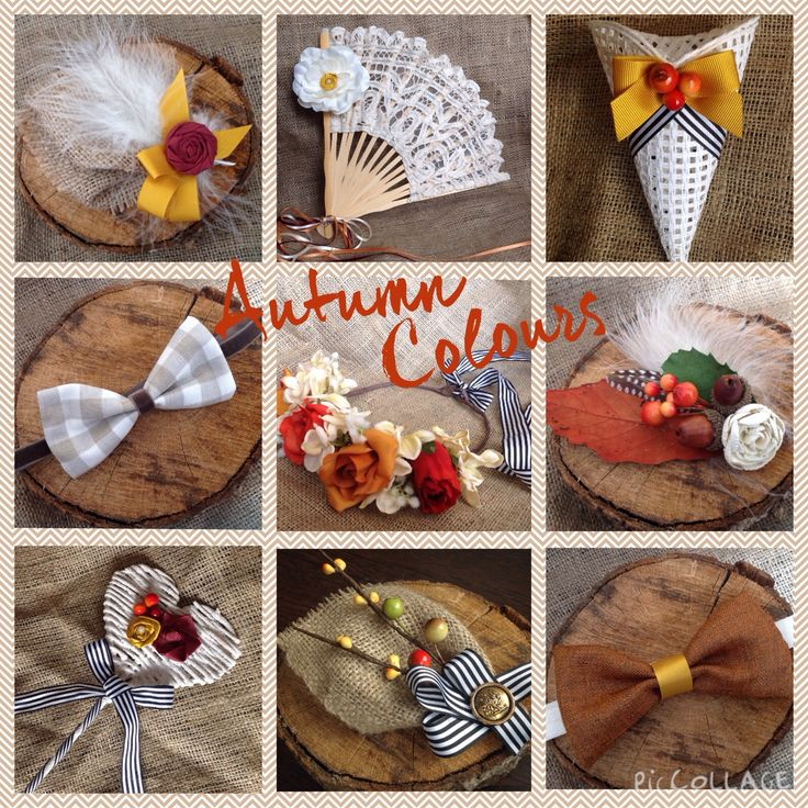 Autumn Colour items from Lilly Dilly's #wedding #rustic #autumn #handmade #bespoke #unique #bow tie #confetti #flowergirl #groom #buttonhole #fan #flowercrown