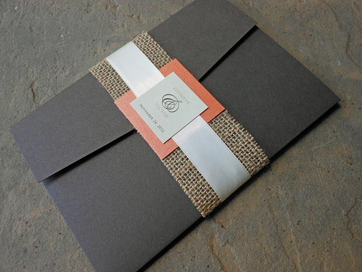Brown Pocketfold Wedding Invitation - Orange with Burlap Tie. $4.50, via Etsy.