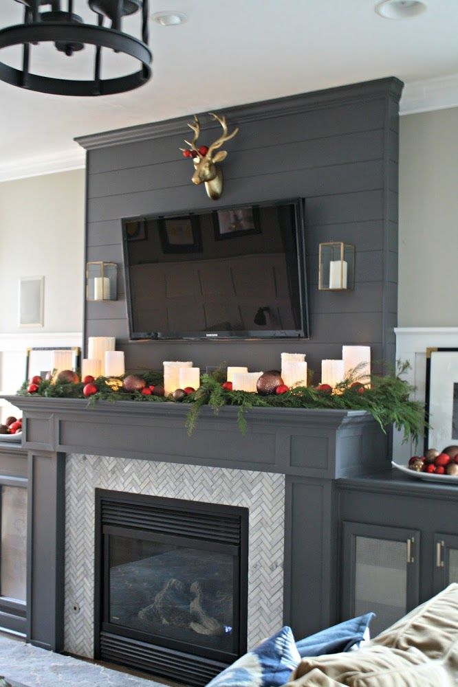 Peppercorn/Sherwin Williams dark gray fireplace marble tile