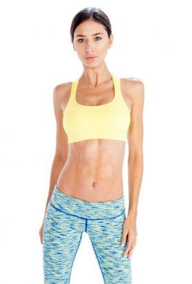 Wholesale Lime Yellow Sports Bra With Sky-Blue Patterned Tights