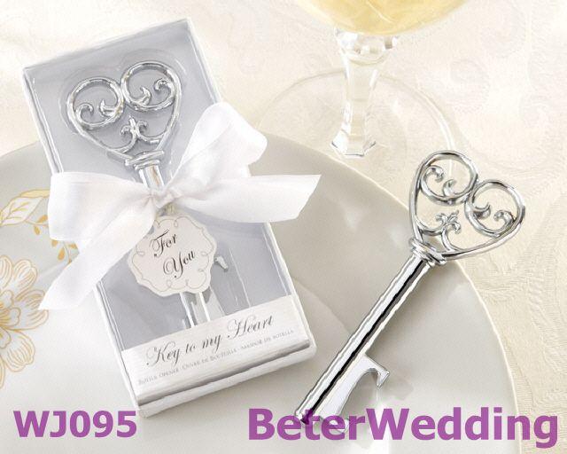 Free Shipping 100box Off White Box Key Bottle Opener Wedding Favor WJ095 Practicalfavors Weddinggifts