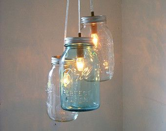 Mason Jar Chandelier Lighting Fixture Hanging Mason by BootsNGus