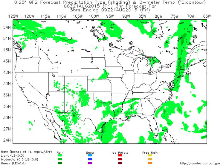 NCEP GFS/NAM Model Forecast Precipitation Type and