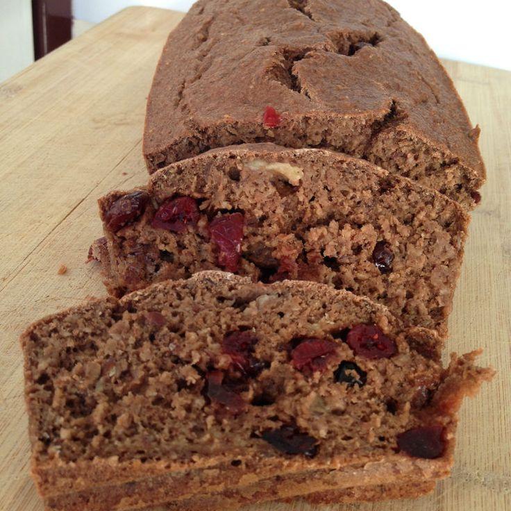 Chocolade bananenbrood met cranberry's eetclean.nl