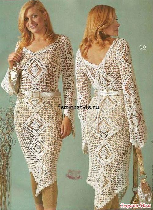 *Элегантное белое платье связанное крючком