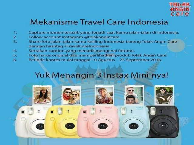 Kontes Foto Travel Care Indonesia Berhadiah Kamera Instax Mini - Hai sobat MisterKuis! Sudah ikutan kontes foto berhadiah 3 kamera Instax Mini di social