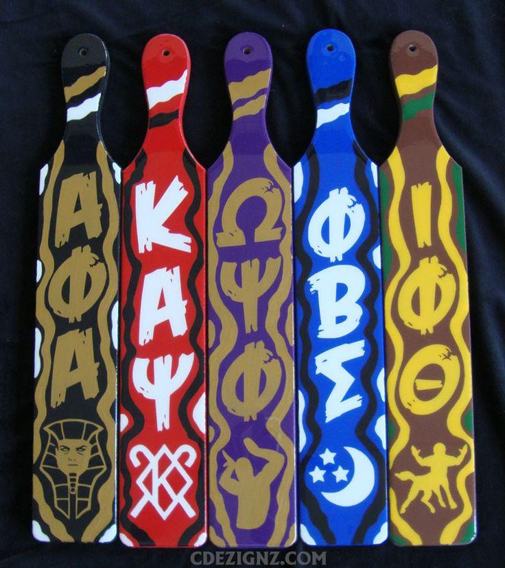Alpha Phi Alpha, Kappa Alpha Psi, Omega Psi Phi, Phi Beta Sigma, Iota Phi Theta, Greek Paddles