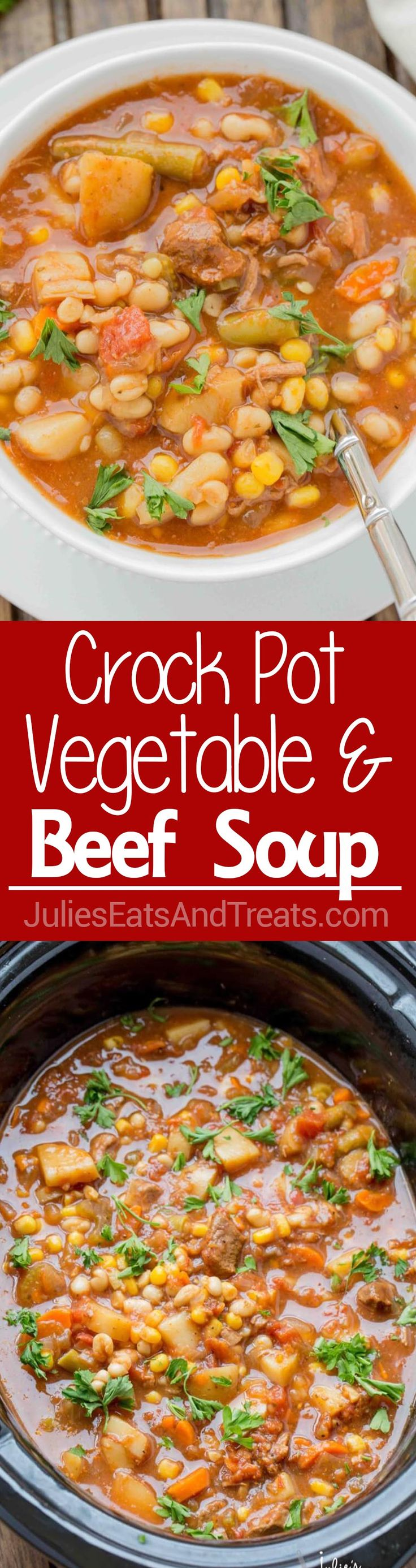 Crock Pot Beef & Vegetable Soup ~ Easy to make, loaded with hearty vegetables & delicious beef. This is one slow cooker soup you must make this winter.