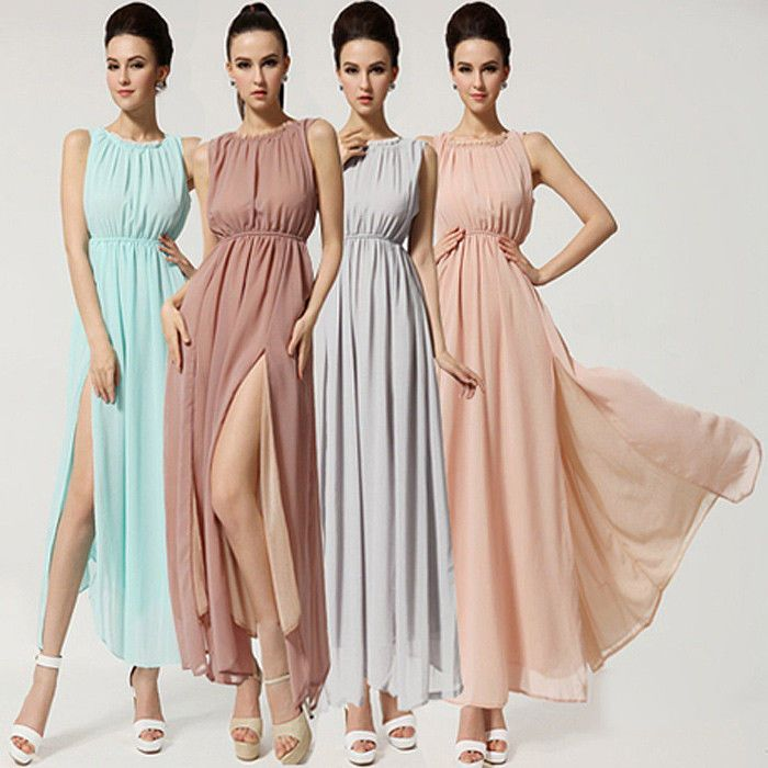 Womens Chiffon Maxi Backless Evening Ball Cocktail Party Sexy Slit Halter Dress #Unbranded #Maxi #Casual