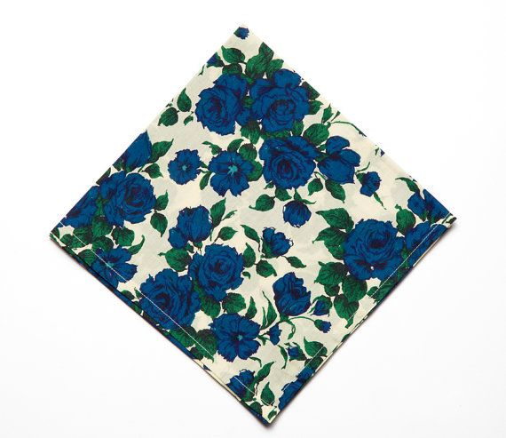 Pomp & Ceremony Pocket Square handkerchief Liberty of London Carline blue rose on Etsy, $24.00